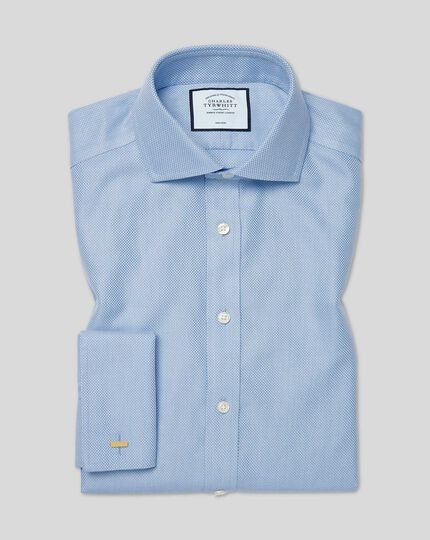 Bügelfreies Hemd aus Buckingham-Gewebe mit Haifischkragen - Blau