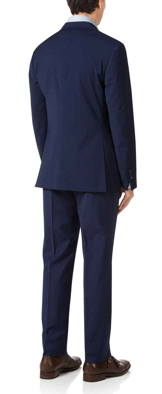 Royal blue slim fit performance suit