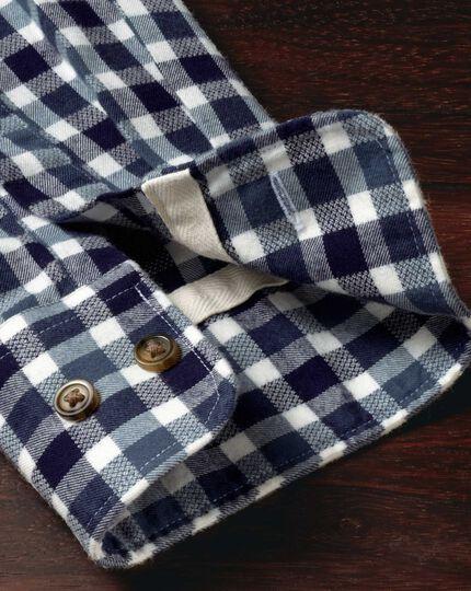 Slim Fit Hemd aus gebürstetem Dobby in MarineBlau un Blau mit Karos