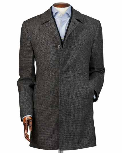Grey puppytooth weatherproof wool car coat