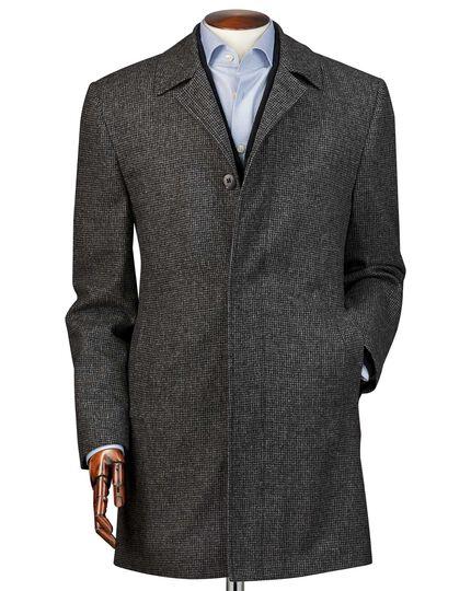 Manteau gris en laine imperméable à motif pied-de-poule