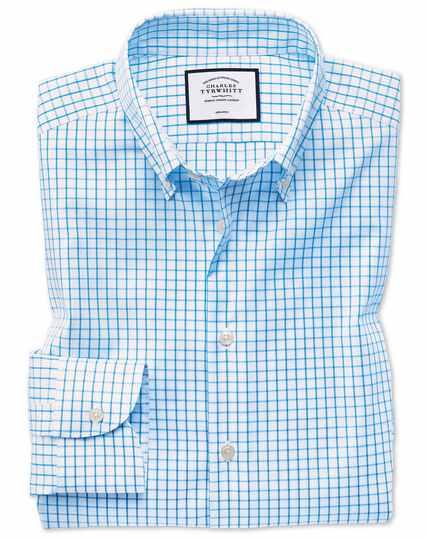 Business-Casual bügelfreies Classic Fit Hemd mit Button-down-Kragen in Aquamarin