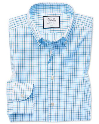 Slim fit business casual non-iron button-down teal shirt