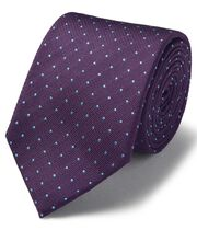 Purple and sky blue silk textured spot stain resistant classic tie