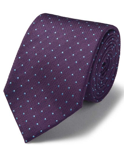 Purple and sky silk textured spot stain resistant classic tie