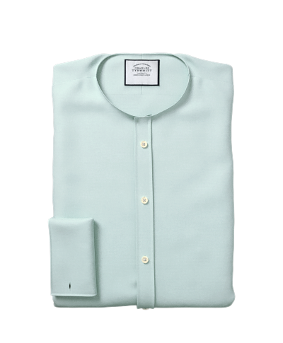 Classic Collar Egyptian Cotton Lattice Weave Shirt - Teal