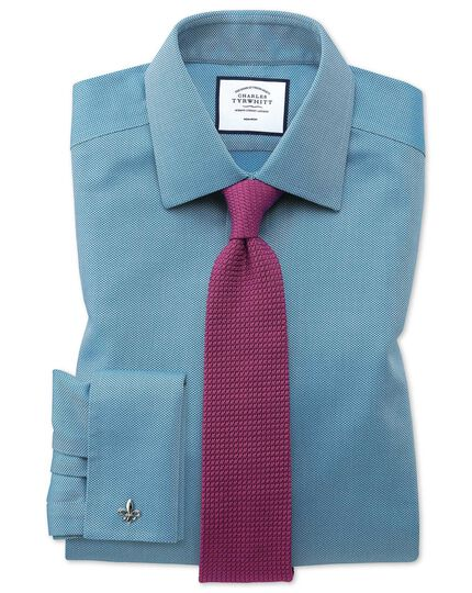 Classic fit non-iron teal arrow weave shirt