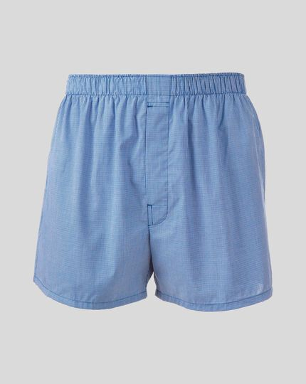 Micro Grid Woven Boxers - Royal Blue