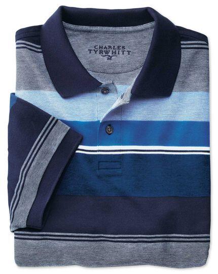 Blue multi stripe Oxford pique polo