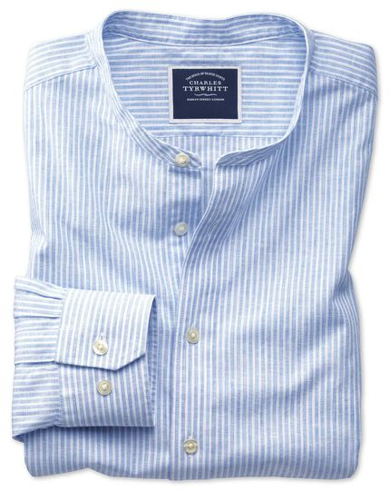 Slim fit collarless blue and white stripe shirt