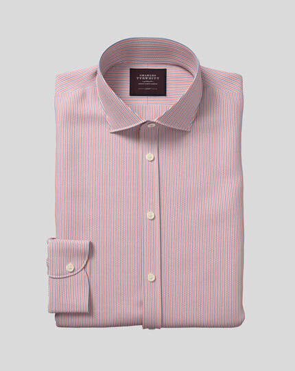 Semi-Spread Collar Italian Luxury Dobby Stripe Shirt- Coral