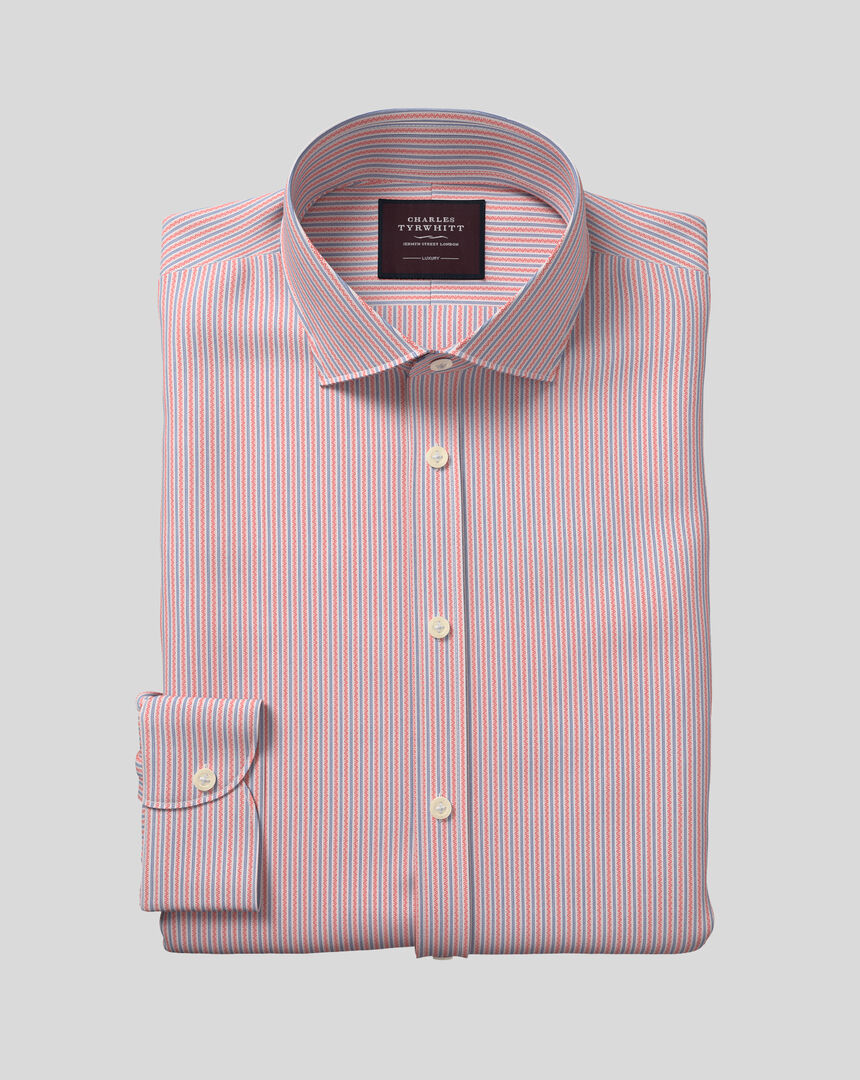 Semi-Cutaway Collar Italian Luxury Dobby Stripe Shirt - Coral