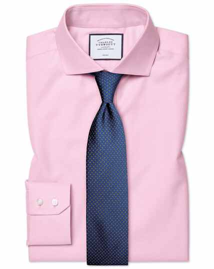 Slim fit pink non-iron twill cutaway collar shirt