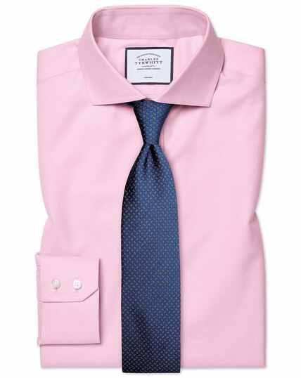 Chemise rose en twill slim fit à col cutaway sans repassage
