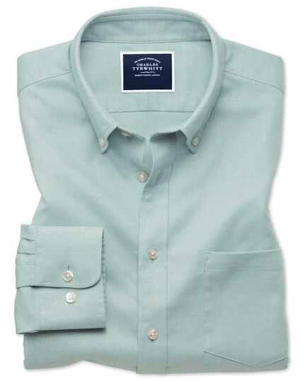 Chemise vert clair unie en twill coupe droite à délavage doux sans repassage