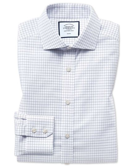 Extra slim fit non-iron cutaway collar navy fine check shirt