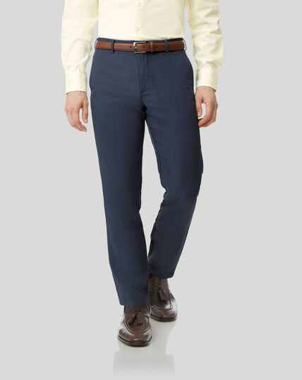 Easy Care Linen Trousers - Mid Blue