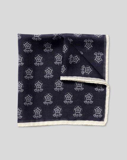 LIMITED EDITION England Rugby English Rose Pocket Square - Navy & White