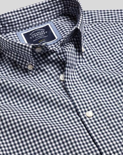 Bügelfreies Popeline-Hemd aus Stretchgewebe mit Button-down-Kragen und Gingham-Karos - Marineblau