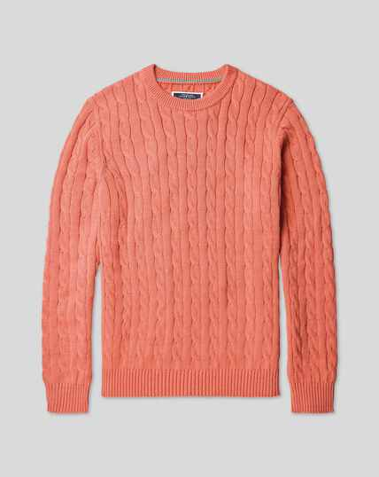 Pima Cotton Cable Jumper - Coral