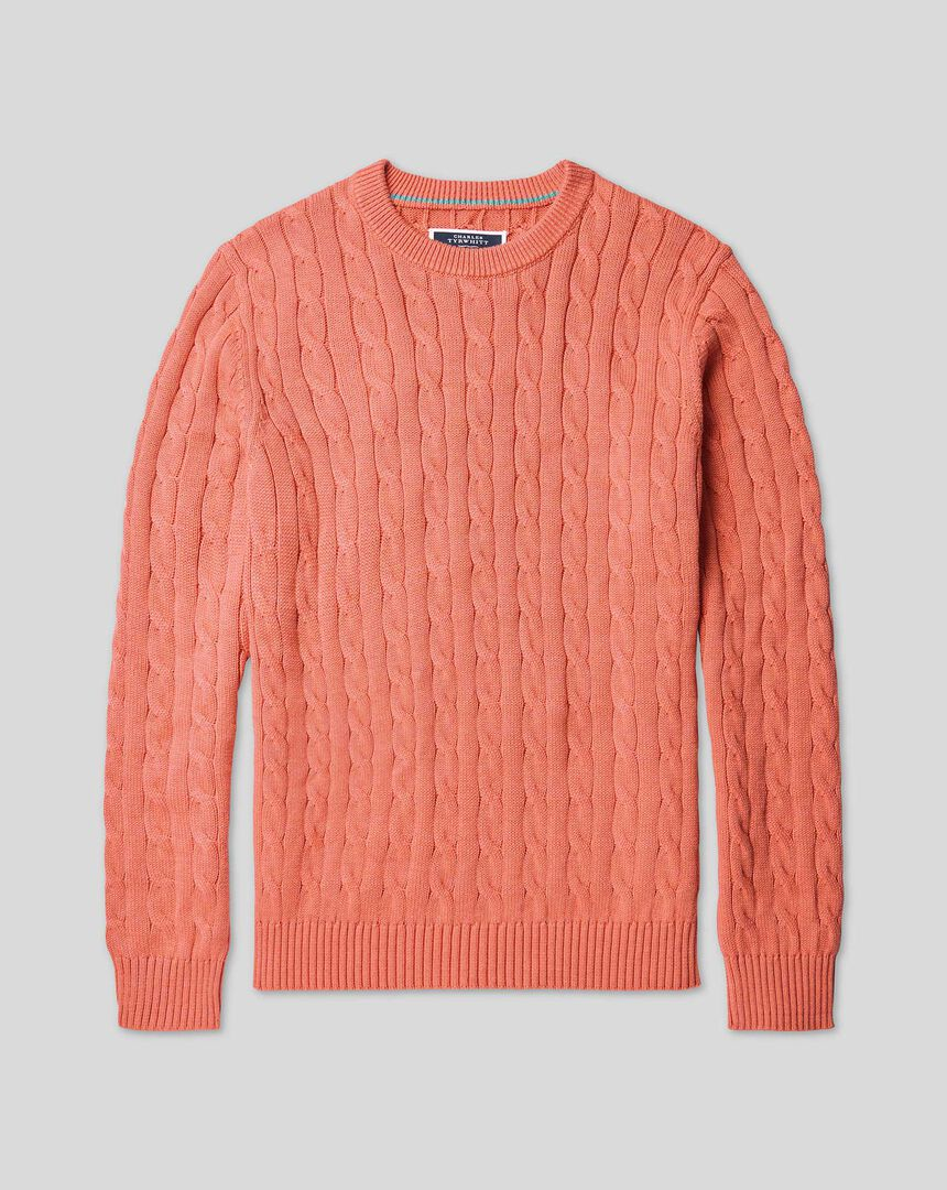 Pima Cotton Cable Sweater - Coral