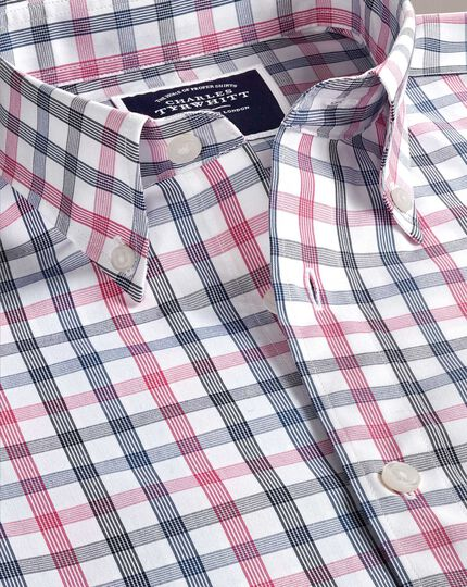 Bügelfreies Classic Fit Hemd mit großem Karomuster in Weiß und Rosa
