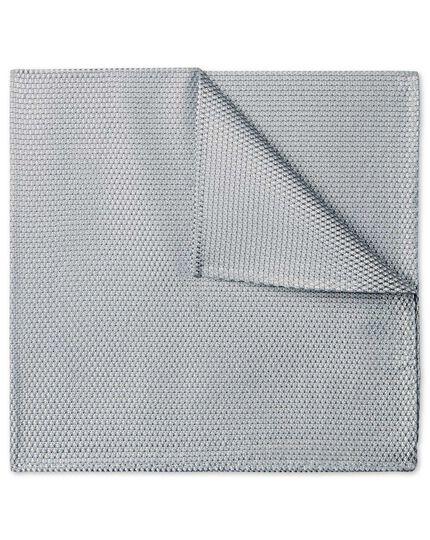 Silver plain pocket square