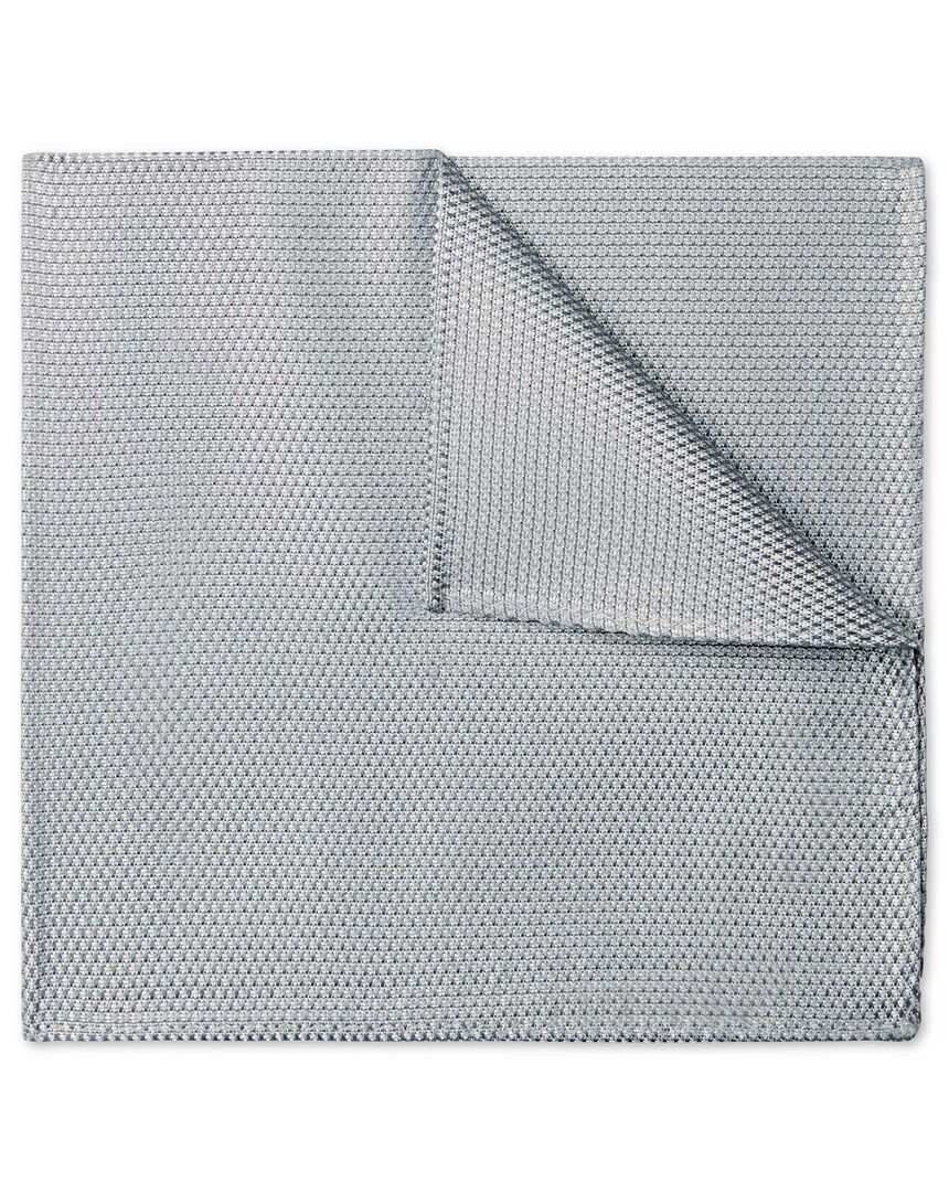 Silver plain pocket square