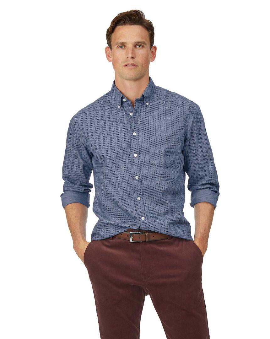 Slim fit navy print soft washed stretch poplin shirt