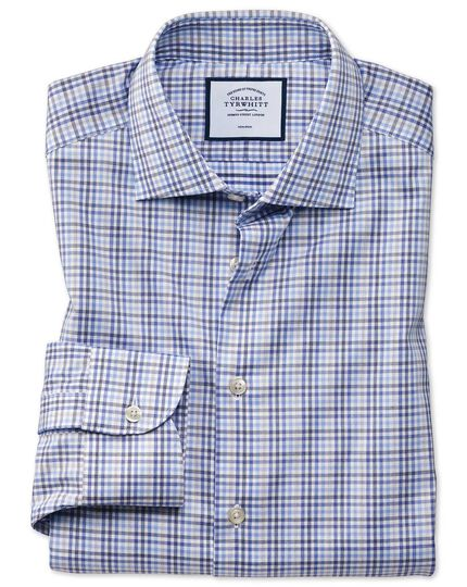 Business Casual Non-Iron Check Shirt - Blue And Grey