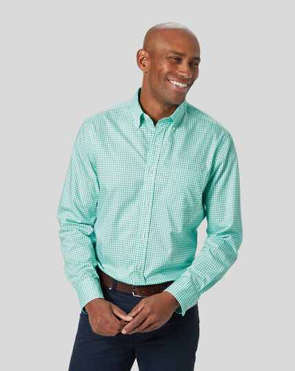 Button-Down Collar Non-Iron Stretch Poplin Gingham Shirt - Light Green