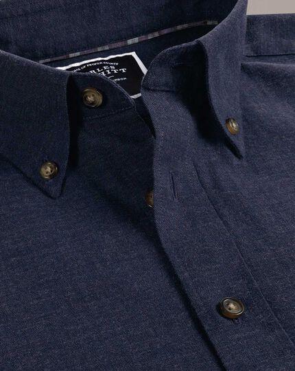 Slim fit blue herringbone melange shirt
