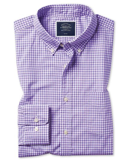 Slim fit soft washed non-iron stretch poplin gingham lilac shirt