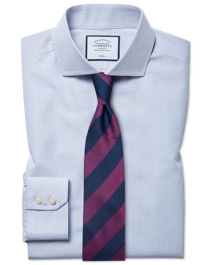 Classic fit non-iron blue stripe Tyrwhitt Cool shirt