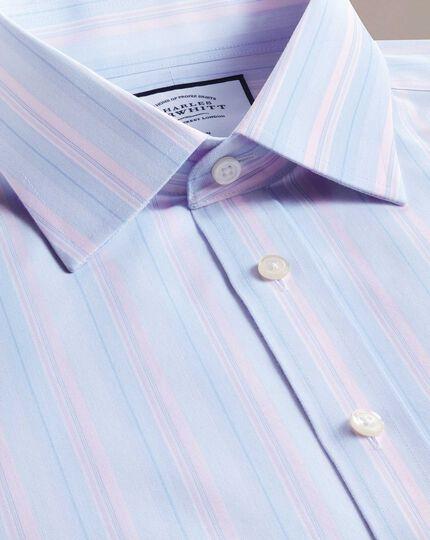 Bügelfreies Classic Fit Hemd mit buntem Streifenmuster in Rosa und Blau