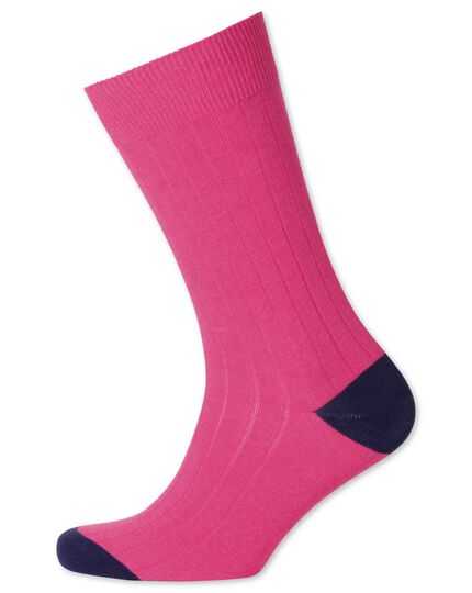 Pink cotton rib socks