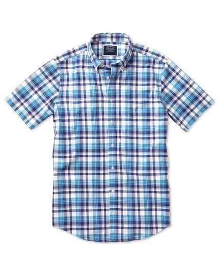Slim fit poplin short sleeve navy multi  shirt