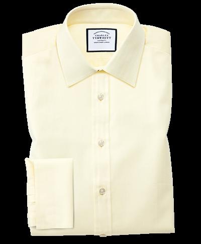 Slim Fit Hemd mit feinem Fischgrätmuster in Gelb