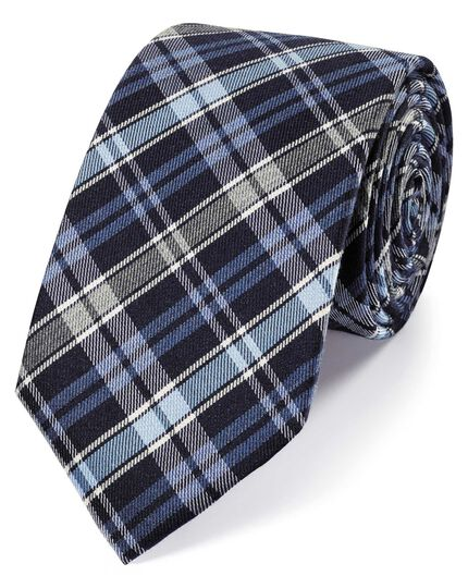Navy wool and silk check classic tie