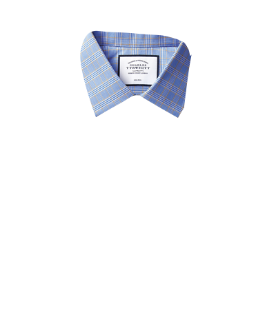 Slim fit non-iron blue and gold Prince of Wales check shirt