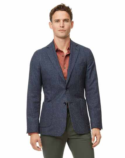 Slim fit blue check wool mix jacket