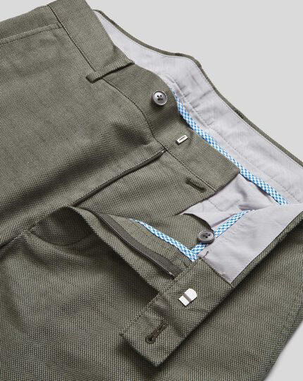 Non-Iron Twill Texture Trousers - Olive