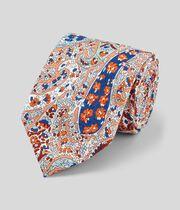 Cravate classique coton et lin à motif cachemire - Orange