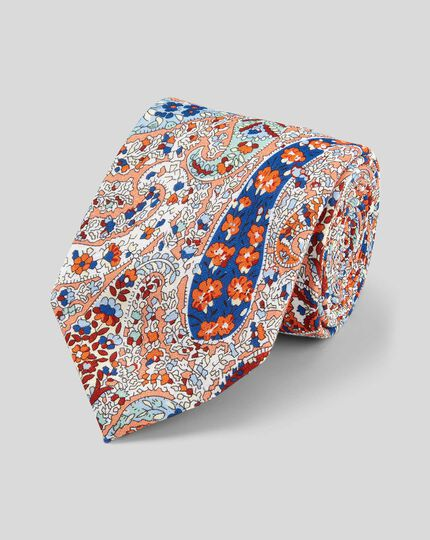 Paisley Cotton Linen Printed Classic Tie - Orange