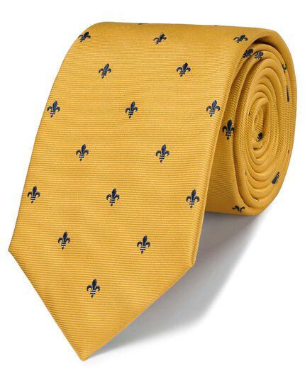 Klassische Krawatte Schmutzabweisend mit heraldischen Lilien in Gold & Marineblau