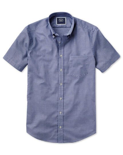 Classic fit royal blue short sleeve gingham soft washed non-iron stretch shirt