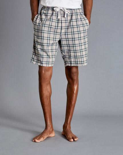 Check Pajama Shorts - Grey & Navy
