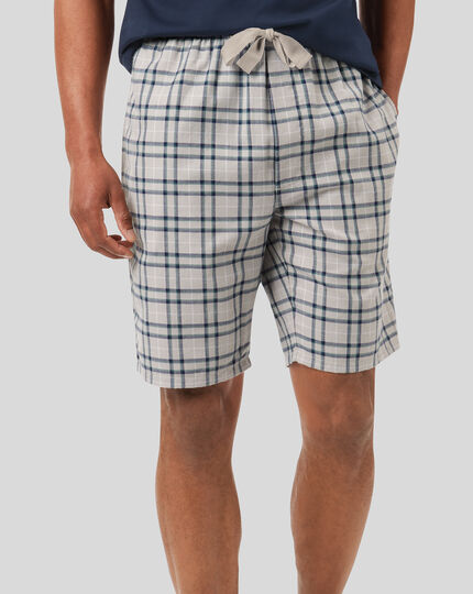 Check Pyjama Shorts - Grey & Navy