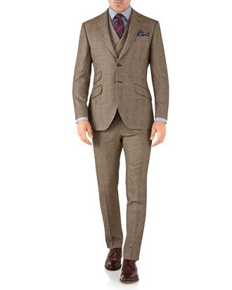 Tan check slim fit British serge luxury suit