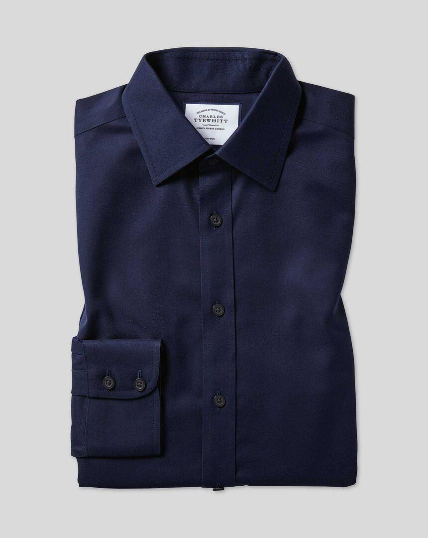 Bügelfreies Twill Hemd mit Kent Kragen  - Marineblau